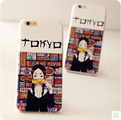 Smile Girl Japanese Grocery Store Case Cover For Apple iPhone 6 Case Cartoon 6 Series Cute Girl Acrylic Case For Phone(China (Mainland))