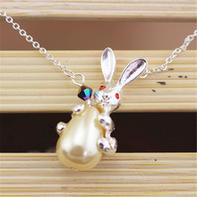 free shipping jewelry wholesale Japanese little rabbit pearl long necklace wholesale