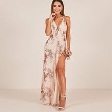 Maxi Dress Women Summer Spaghetti Strap V Neck Sleeveless Split Backless  Sexy Long Dress Rose Gold 8da514ec419b