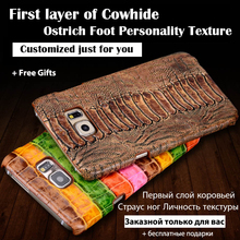 Back Case For Apple iPhone 6 6s Top Quality Luxury Ostrich Leg Texture Cowhide Genuine Leather Customize Mobile Phone Rear Cover