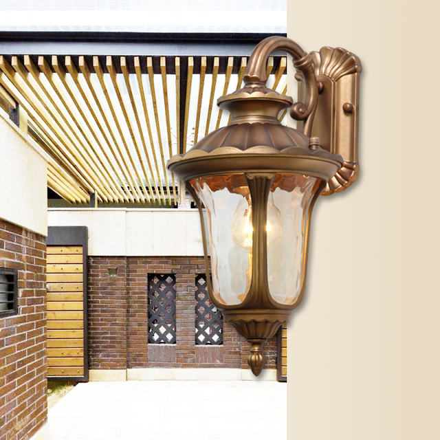 American Vintage LED Wall lamp Outdoor Wall Sconce Lighting Waterproof Garden Wall Light Glass ...