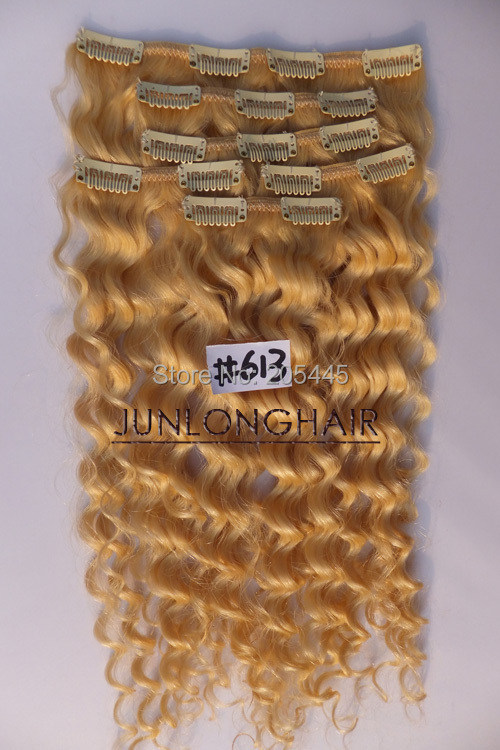 Deluxe Thick 170g 7pcs16inch~26inch Clip IN Deep/Curly Wavy 100% REAL Human Hair Extensions #613 Bleach Blonde Full Head - Junlong Products CO,.LTD store