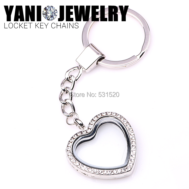 10pcs/lot Newest Heart Magnetic Floating Locket Keychains Key Ring Glass Living Locket with Rhinestones<br><br>Aliexpress