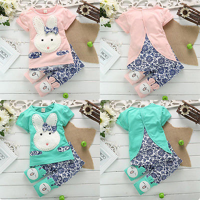 2016 Hot Sale 2PC New Baby Kids Top Short Pants Set Clothes Cute Rabbit Girls Clothes Pink Green baby girl boys clothes Set <br><br>Aliexpress
