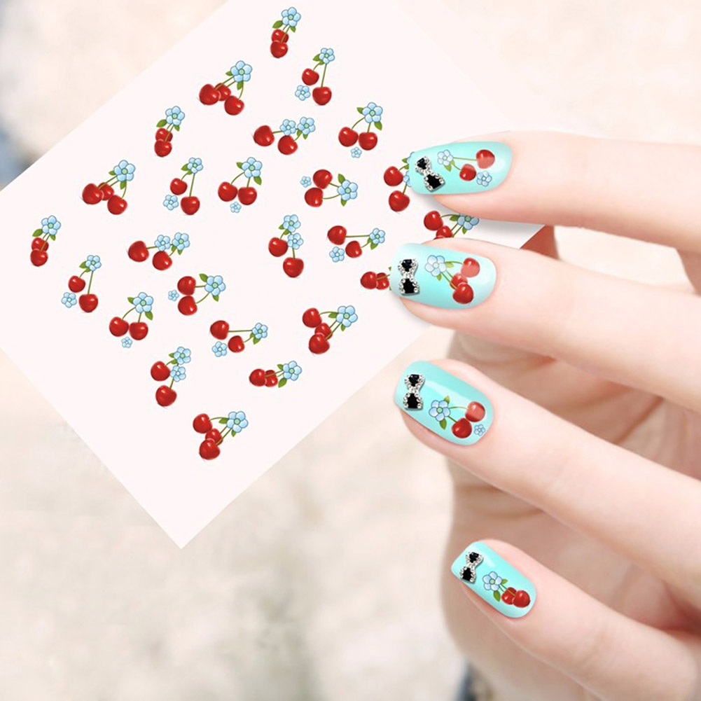 Sweet Red Cherry Styles Nail Art Full Decals Water Transfer Stickers Decorations Watermark Tattoos 1pcs Charm Nail Art(China (Mainland))