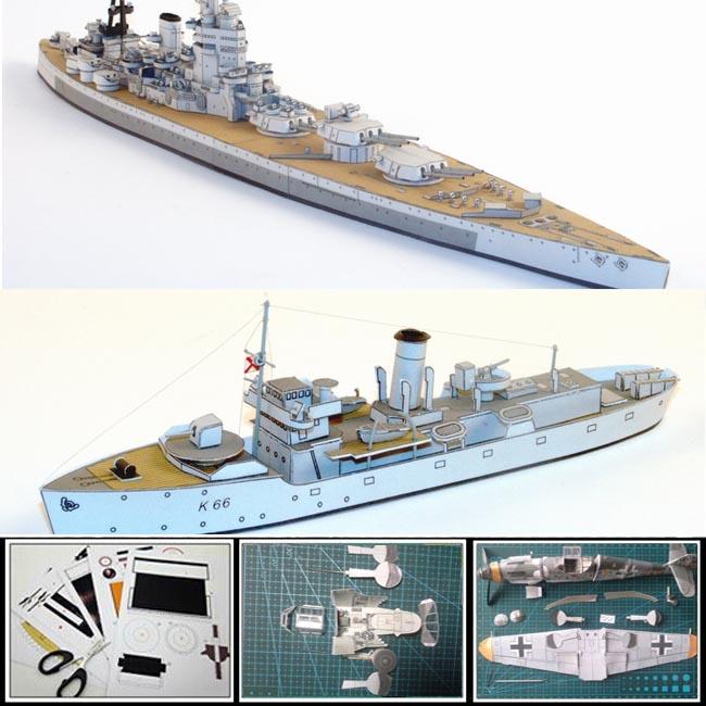 Paper Model ships British battleship NELSON 546mm long, corvette BEGONIA 157mm long,1:400 scale 3d puzzle decoration papercrafts(China (Mainland))