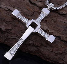 2015 Fast & Furious Toretto Men Classic Style CROSS Necklace  &pendant  Fashion Statement rhinestone necklace Jewelry(China (Mainland))