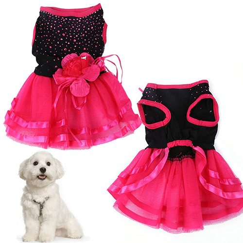 Pet Dog Rose Flower Gauze Tutu Dress Skirt Puppy Cat Princess Clothes Apparel(China (Mainland))