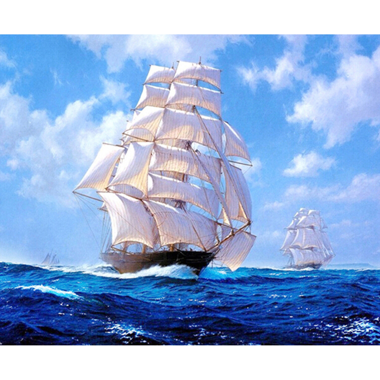Western Style home decor 5D square Diy Diamond Painting Embroidery gift sailing ship living room sticker 55X45CM LLLD266(China (Mainland))