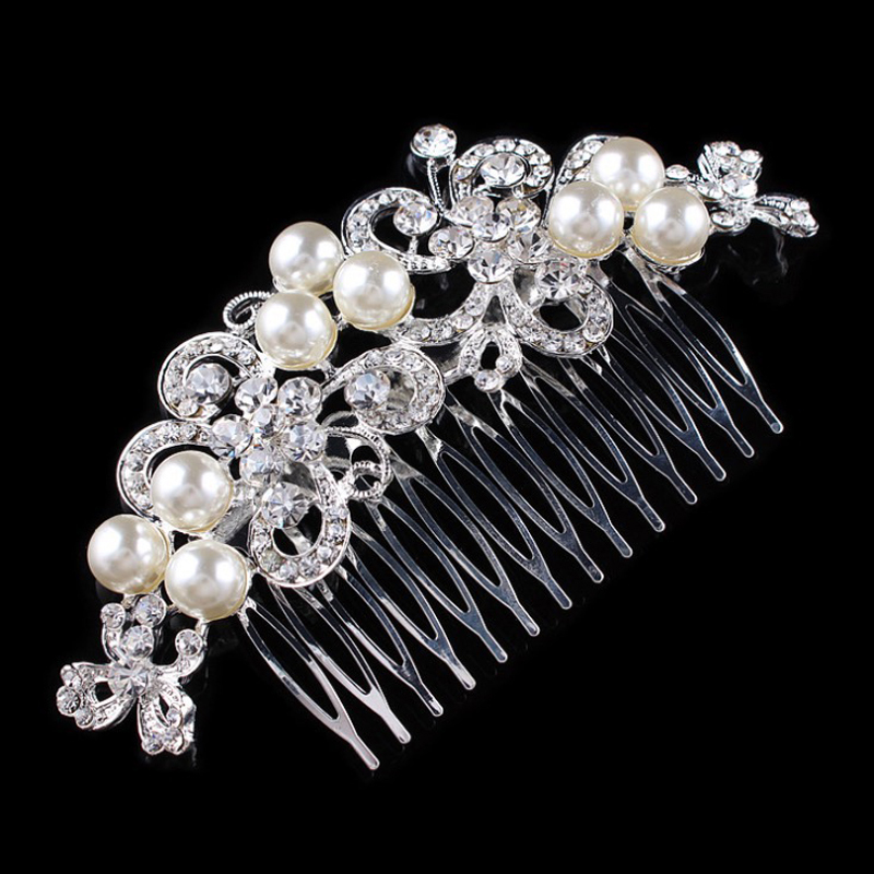 Wedding Bridal Hair Comb High Quality Sparkling Pearl Rhinestone Flower Hair Jewelry Accessories 12.1*6.4cm(China (Mainland))
