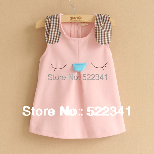 Girls cute cartoon rabbit vest dress dress vest dress spring and autumn children clothing kids sundress(China (Mainland))