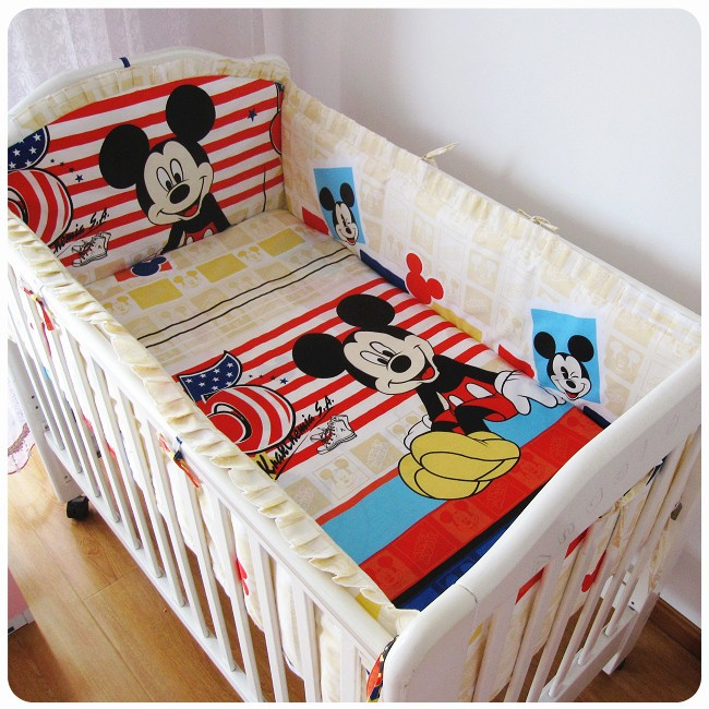 Promotion! 6PCS Mickey Mouse baby bedding set cotton crib bumper baby cot sets baby bed bumper (bumpers+sheet+pillow cover)<br><br>Aliexpress