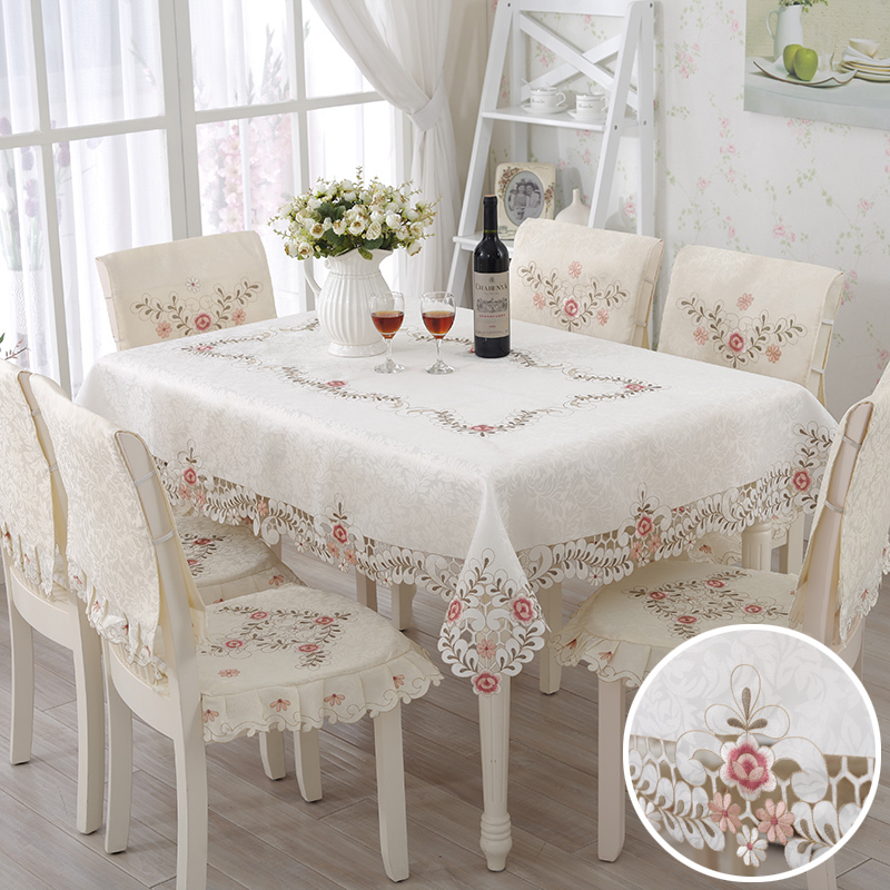 Hollow Out Flowers Printed Table Cover Daily Use Cotton Rectangle And Round Party Tablecloth(China (Mainland))