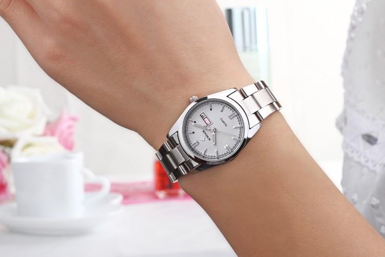 Новый Бренд Дата День Relogio Женщина Для Часы Женские Нержавеющая Сталь Часы Дамы Мода Свободного Покроя Часы Кварцевые Наручные Часы