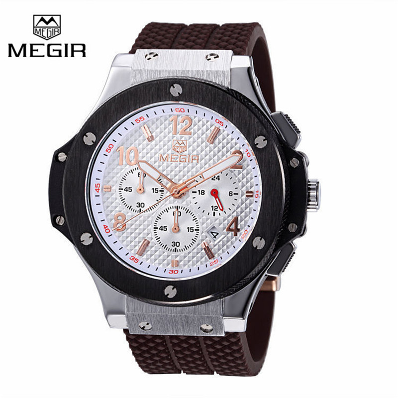 MEGIR Chronograph 6 Hands 24 Hours Function Men Sport Watch Silicone Luxury Watch Men Top Brand Military Watch Relogio Masculino(China (Mainland))