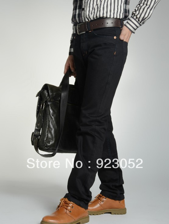 2013 New Fashion Brand Slim Men's Jeans Pencil Pants Black Autumn Trousers straight leg Size 28-36(China (Mainland))