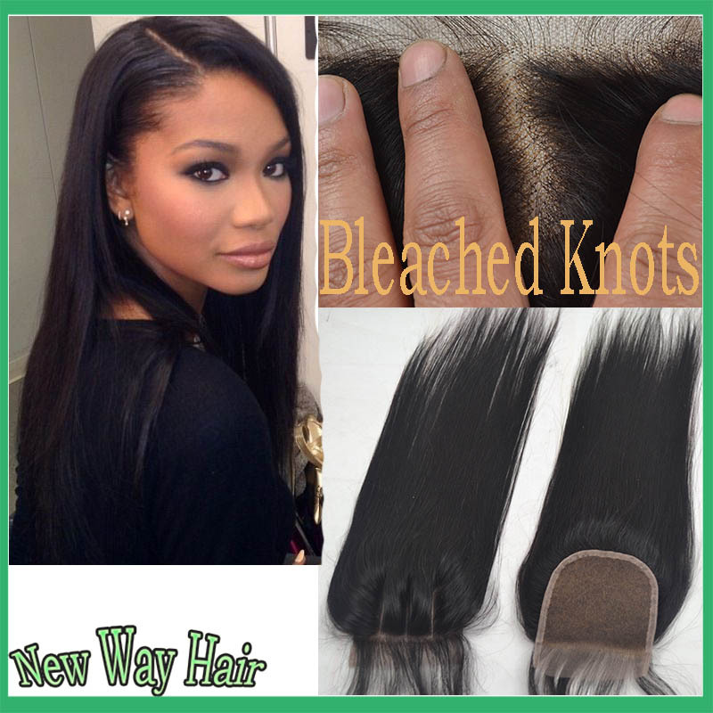 7a 4*4 Virgin hair Malaysian straight closure bleached knots human hair free/middle 3 part cheap lace closure with free shipping(China (Mainland))