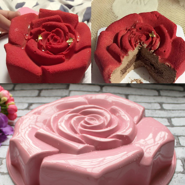 Different Color High Quality Rose Shape Silicone Cake ...
