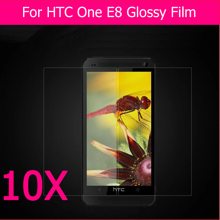 QCC HD clear glossy screen protector film HTC one E8 M8Sw 5.0 inch phone protective lcd guard panel + 1retail package - TOP.1 store