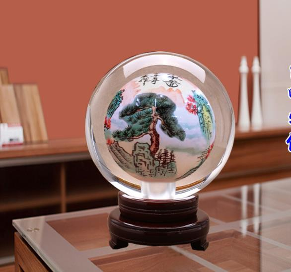 Globe Home Decoration Gorgeous Folk Art Chinese Handmade Classic Painted Pine In Mountain Huang Diameter 11cm Exquisite(China (Mainland))