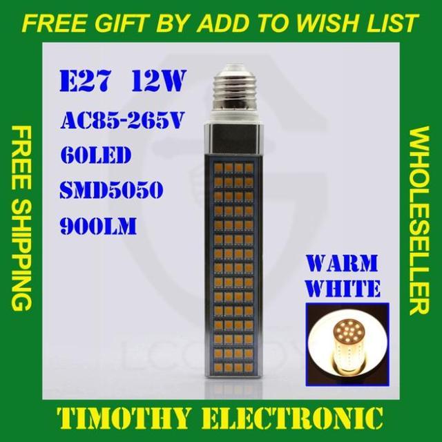 HOT SALE FREE SHIPPINGE27  12W SMD 5050 60 LED WARM White Energy Saving Corn Lamp Lights Bulbs  AC85V-265V 1PC #LE055