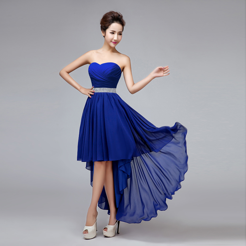 High low royal blue bridesmaid dress crystal high waist for Royal blue wedding dresses cheap