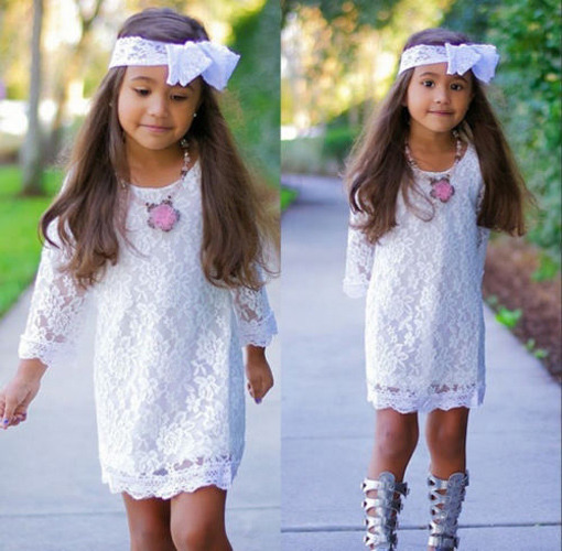Baby Girl Dress Toddler Kids 3/4 Sleeve Hollow Out Flower Lace Princess Dress Party Dress