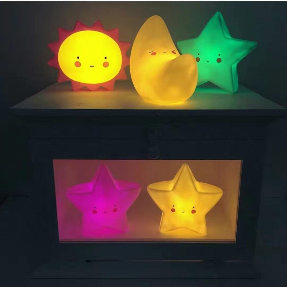Baby Lovely LED Toys Night Sleep Light Children Stars Moon Sun Kids Bedroom Lamp Kids Lighting Baby Birthday Cute Toy Gift