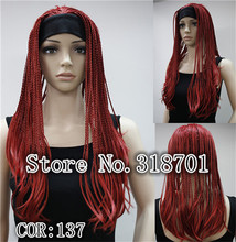 Fashion 3/4 Wig With Headband Medium Red Long Straight Synthetic Half Wig many color for choose free shipping(China (Mainland))