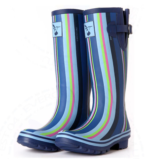 Free Shipping Brand designer Womens fashion Motorcycle Waterproof Rain Boot Blue Gingham casual Mid Calf Riding Boots for women<br><br>Aliexpress