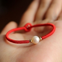 Handmade Natural Freshwater Pearl Red Wax String Bracelet 14K gold beads Lucky Bangle Charm Fashion Jewelry(China (Mainland))