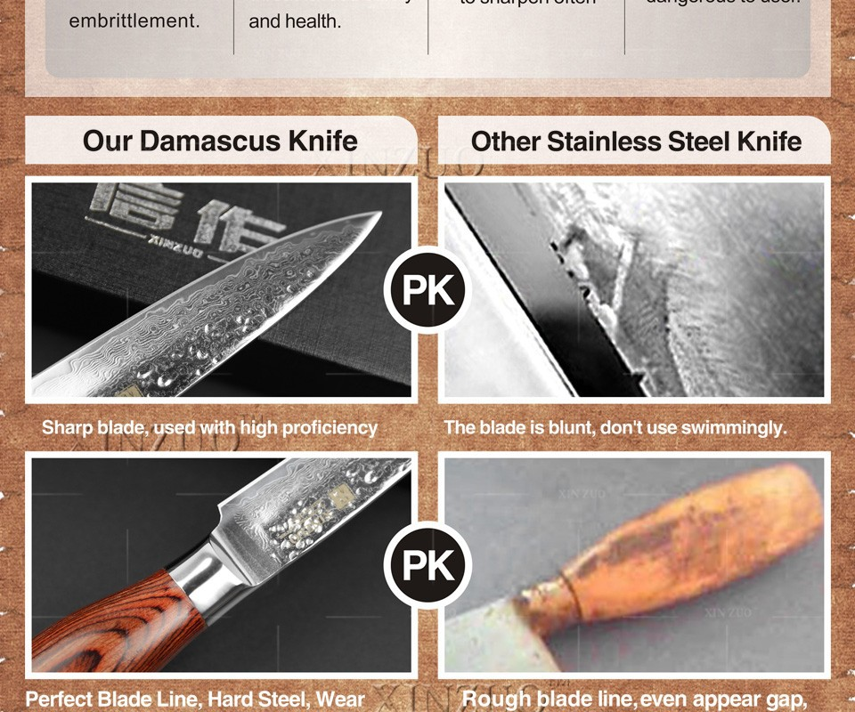 "Buy 2015 NEW 3.5"" fruit knife Damascus kitchen knives high quanlity paring knife senior damascus steel  parer knife FREE SHIPPING cheap"