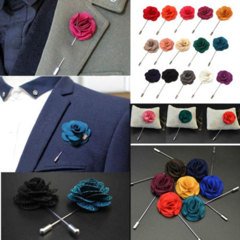 High Quality Handmade Flower Boutonniere Stick Brooch Pin Mens Accessories Men Lapel Pin Brooch Flower Suit 18 Color Hot(China (Mainland))
