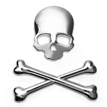 3D Car Stickers Skull Metal Skeleton Auto Decals Label Skull Emblem Badge Car Styling Stickers For Honda Ford VW BMW Toyota(China (Mainland))