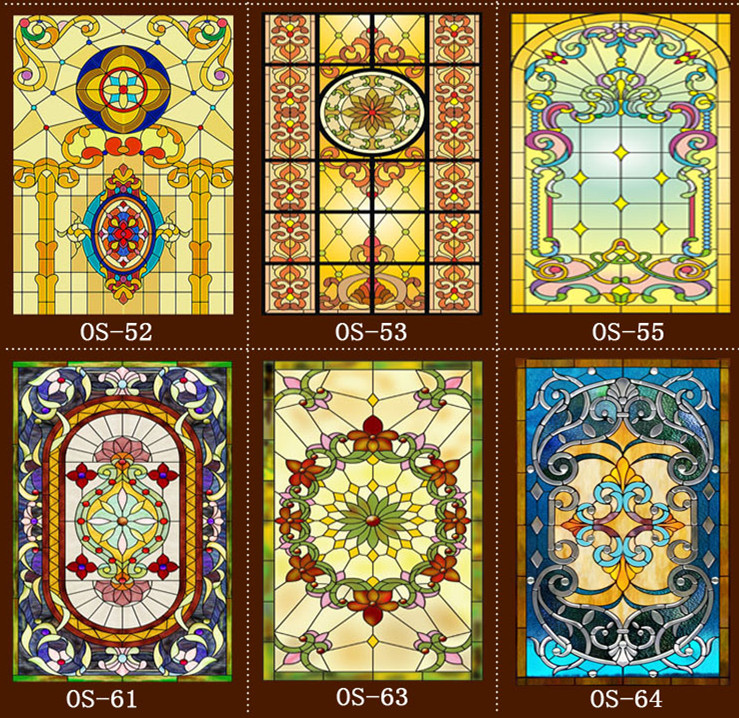 Custom scrubs no glue electrostatic opaque European church stained glass windows and doors wardrobe furniture foil stickers(China (Mainland))