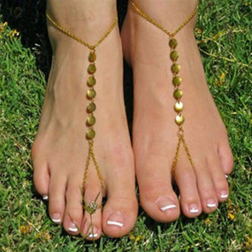 Sexy Chain Link Beach Anklets 18K Gold Color Round Shape Paillette Ankle Bracelet Foot Jewelry For Women Foot Accessories 367KKB(China (Mainland))