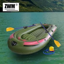 Inflatable Boat Portable Single Boat High strength PVC Rubber Fishing Boat 150x90cm Max 80KG with Paddles and Pump