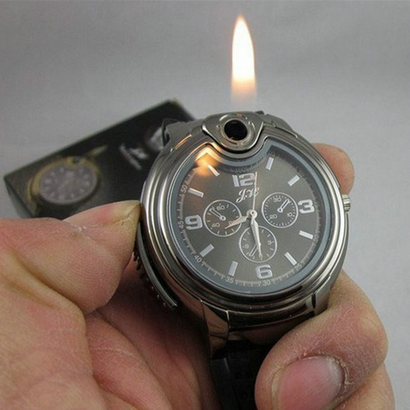 New Military Lighter Watch Novelty Man Quartz Sports Refillable Gas Cigarette Cigar Men's Watches Luxury Brand Gift Retail Box(China (Mainland))