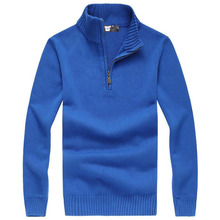 2016 High Quality Men's Knit Sweater Standing Polo Sweater Men's Cotton Sweater Branded Clothing Free Shipping(China (Mainland))