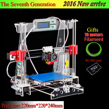 The 7th Generation Prusa i3 3d Printer DIY kit P802M High Precision Reprap Big print size 220*220*240mm