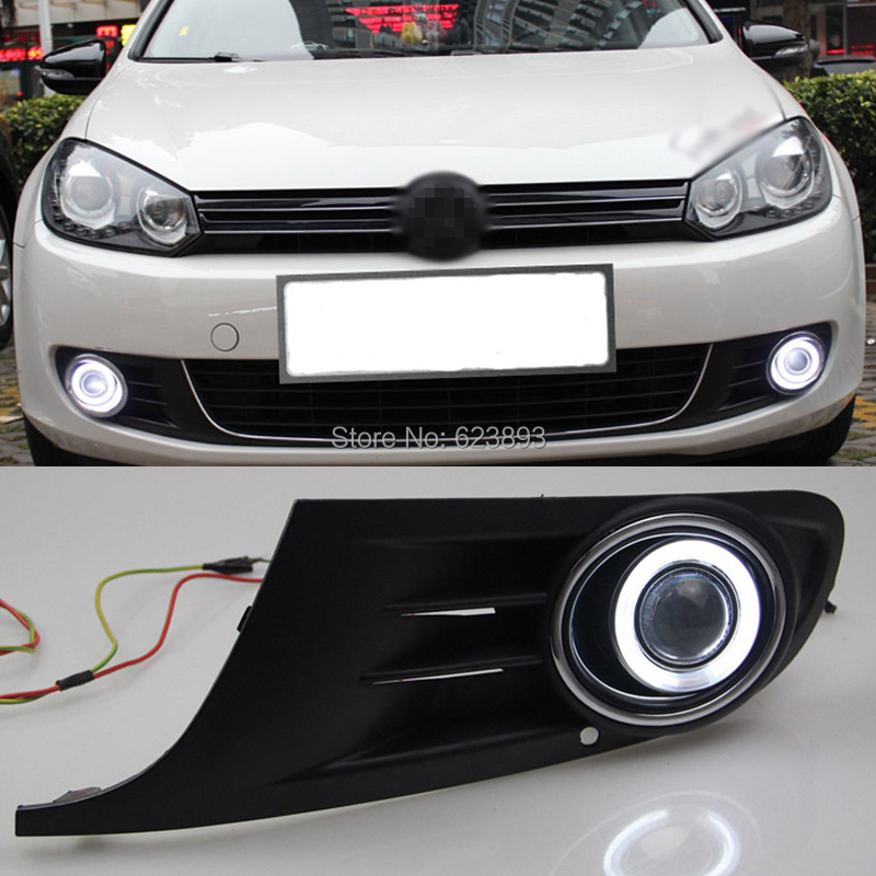 Car styling For Volkswagen VW Golf6 2009-2012 LED Daytime Running Lights DRL Projector Lens Fog lights + Angel Eyes Kit(China (Mainland))