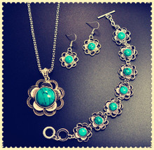 New vintage retro jewelry set tibetan silver plated turquoise flower pendant necklace earring gift for women girl S670(China (Mainland))