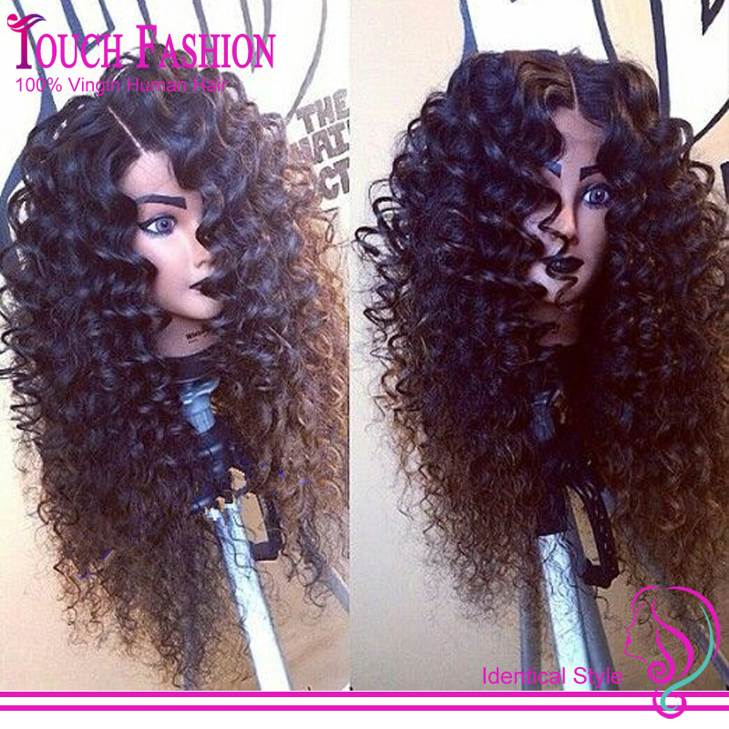 Hotsale! Virgin Human Hair Deep Curly Lace Front Wig Glueless Brazilian Front Lace Wigs With Natural Color For African Americans(China (Mainland))