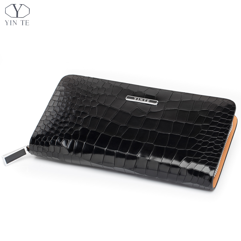 Men Genuine Leather Wallet Famous Brand Fashion England Style Black Clutch Bag Passport Purse Men Card Holder Crocodile Prints(China (Mainland))