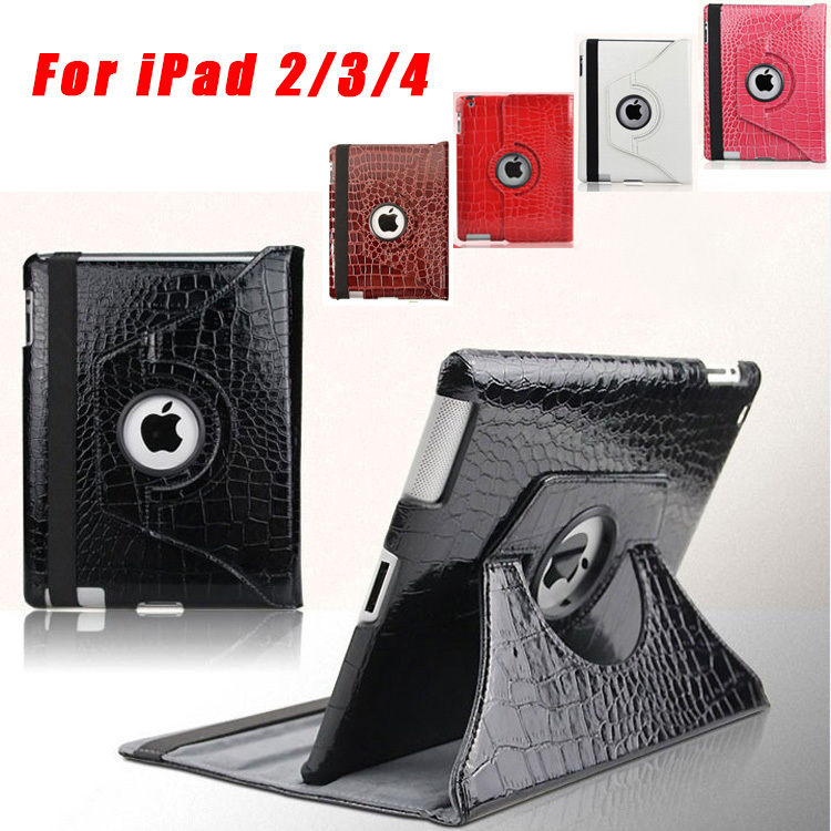 Fashion 360 Degree Rotating Crocodile Leather Case Cover for ipad 2 3 4, Wake Up Sleep Stand Smart Cover for iPad4 Free Shipping<br><br>Aliexpress