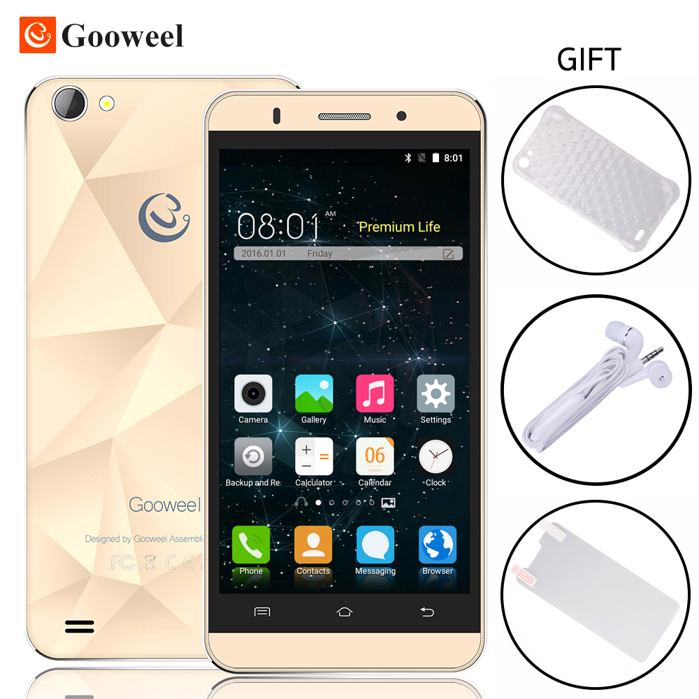 Original Gooweel M5 Pro Mobile Phone MTK6580 Quad core 5 inch IPS Screen Smartphone android 5.1 5MP+8MP Camera GPS 3G Cell phone(China (Mainland))