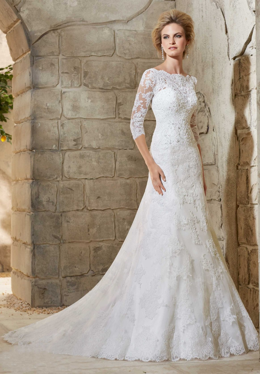 Wedding Dresses 3 4 Sleeves Lace : Sleeve ball gown vestido de noiva romantico boat neck wedding