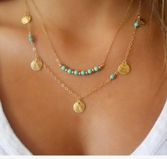 Hot Wholesale Fashion Simple Gold coin kallaite bead double chain necklace for women(China (Mainland))