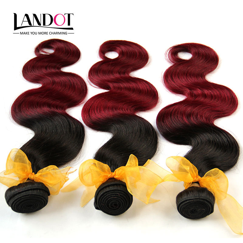 Ombre Malaysian Virgin Hair Extensions Two Tone Black/Wine Red 6A Virgin Malaysian Body Wave Remy Human Hair Weave 3 Bundles(China (Mainland))