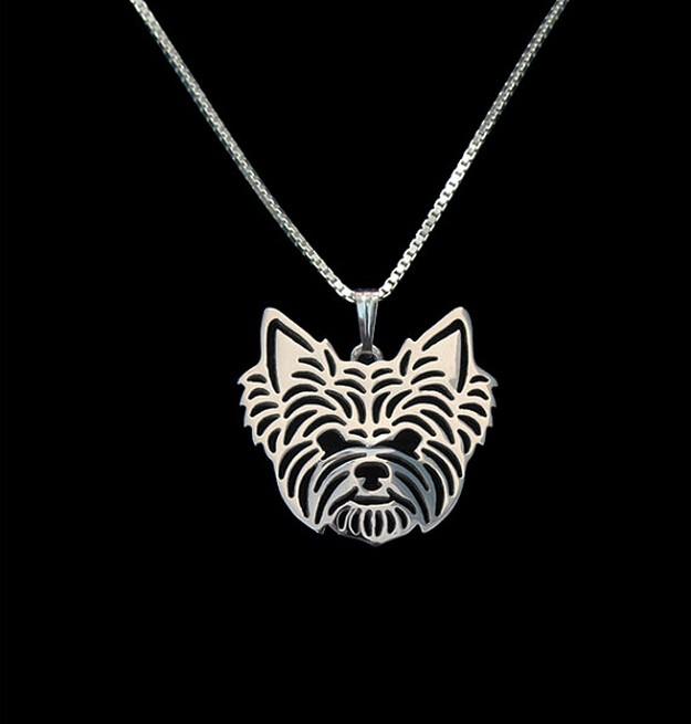 Gold & silver 1pcs Yorkshire Terrier Necklace 3D Cut Out Puppy Dog Lover Pendant Memorial Necklaces Pendants Christmas Gift(China (Mainland))